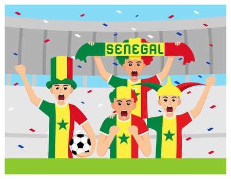 Senegal Supporters in flat design Stock Vectors Illusztráció