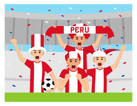 Peru Supporters in flat design Stock Vectors