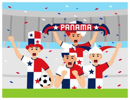 Panama Supporters in flat design Stock Vectors