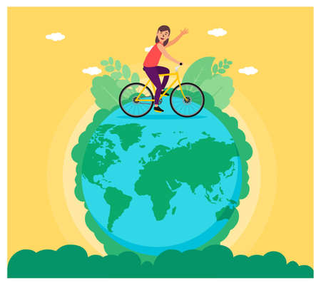 Earth planet riding bicycle flat design