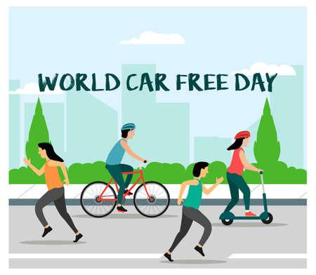 Flat design world car free day concept Vecteurs