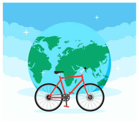 Bicycle day and Earth day flat design