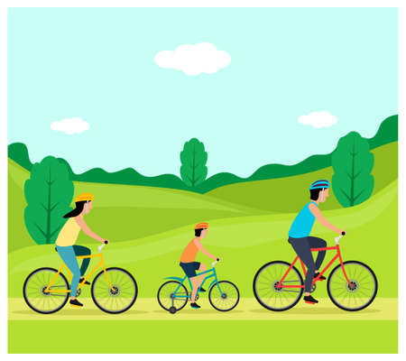 Outdoor People activity with bicycle flat design