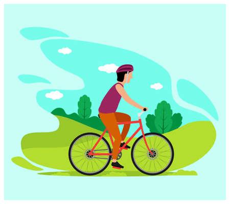 Man on Bicycle flat design style Vecteurs
