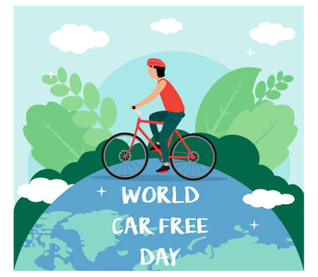 World Car free day with bicycle flat design style