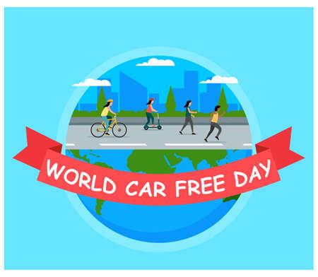 World Car free day flat design