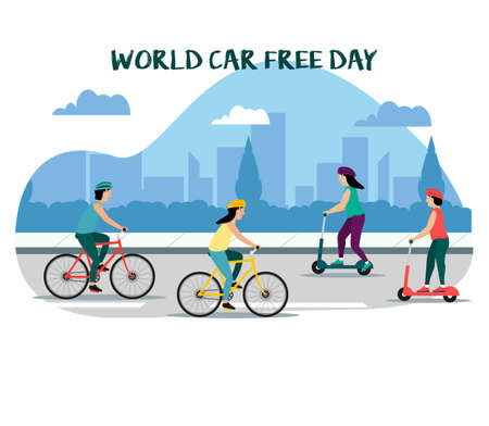 World Car free day flat design concept