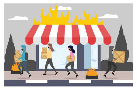 looting shops and house flat illustration