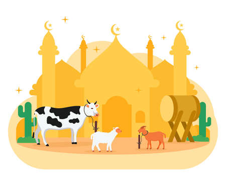 Eid Al Adha Flat Illustration Eid Stock Vector