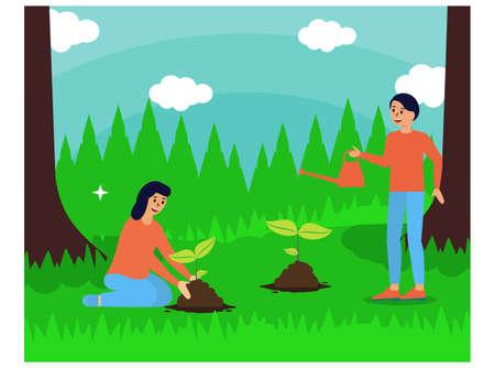 World environmental day. greening activities illustration 向量圖像