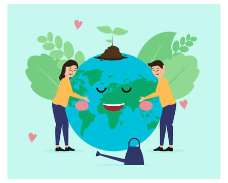 World Environment, Greening Planet Earth Flat design