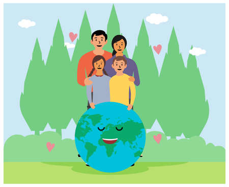 Illustration Elements Of Greening Home On Green Earth flat design