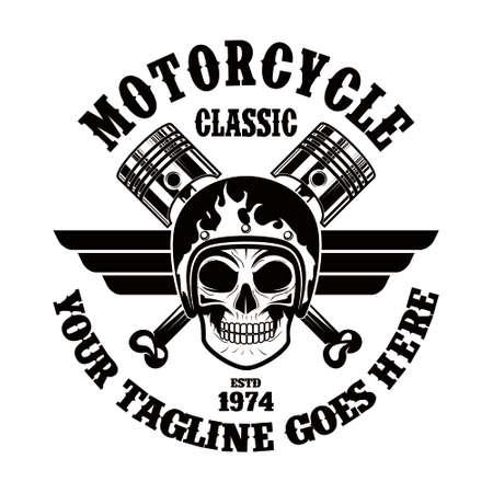 Motorcycle Skull Emblem Illusztráció