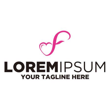 Letter F Love Logo