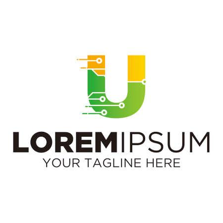 Letter U Technology Logo