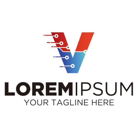 Letter V Technology Logo Logo