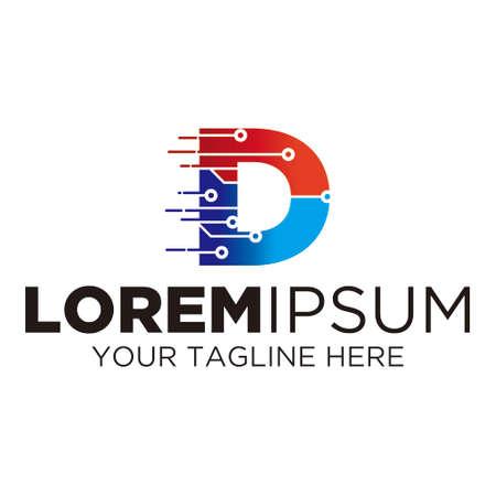 Letter D Technology Logo Illusztráció