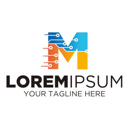 Letter M Technology Logo Illusztráció