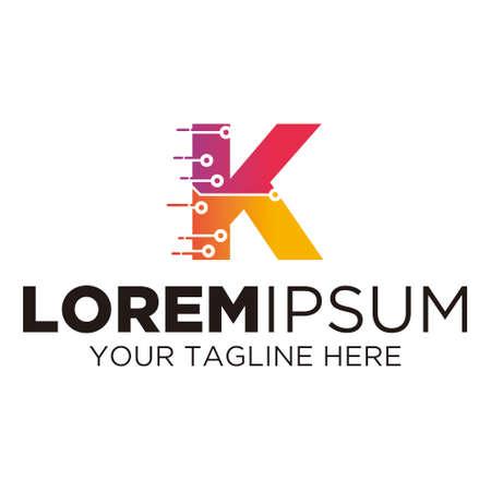 Letter K Technology Logo Illusztráció