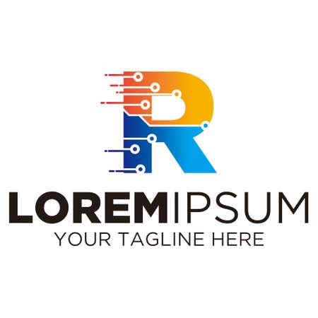 Letter R Technology Logo Ilustração
