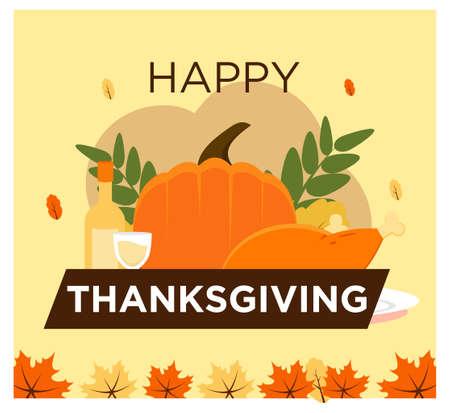 Happy Thanksgiving concept in flat design Vector Illustratie