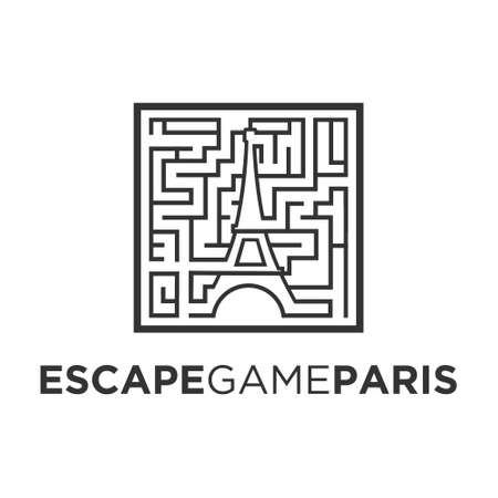 escape game paris, vector logo illustration.