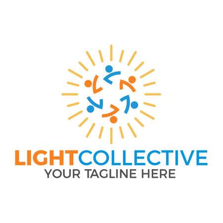 light collective, vector logo illustration.
