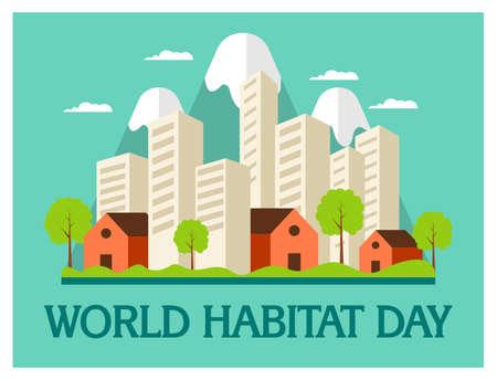World Habitat Day in flat concept 向量圖像