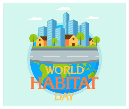 World Habitat Day with building in flat design