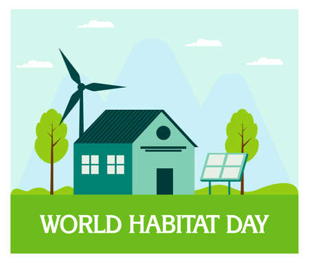 World Habitat Day with House in flat design