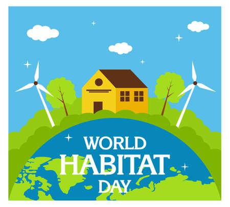 World Habitat Day background flat 向量圖像
