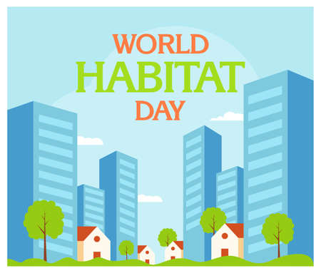 World Habitat Day with the city in flat 向量圖像