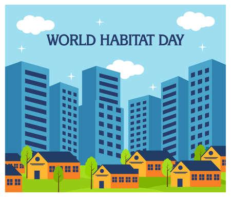 The City of World Habitat landscape in flat