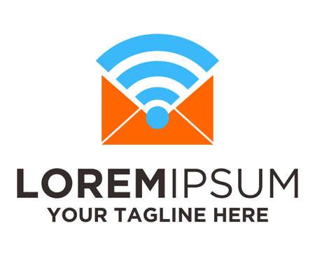 Postmail Wireless email Logo Template Ilustração
