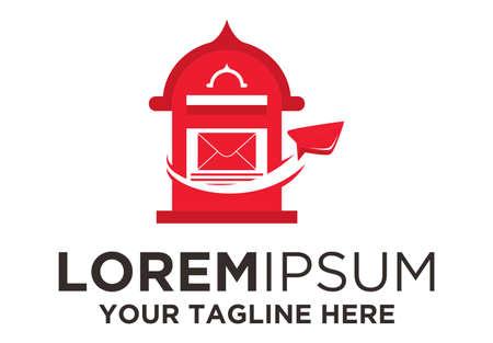 Post Mail Box Paperplane logo Ilustração