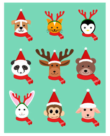 Christmas Animals Character in flat style