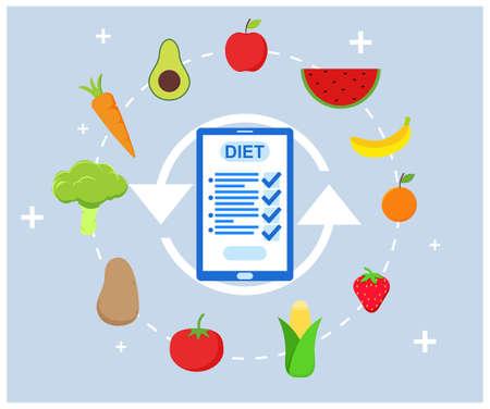 Weight Loss Diet program in flat design