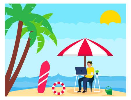 Flat design of Digital Nomad, working with vacation Vektorgrafik