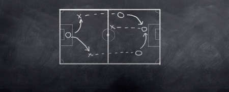 A socceer strategy board as the half time whistle blows. Written in chalk on a blackboard. Stock Photo - 6374268
