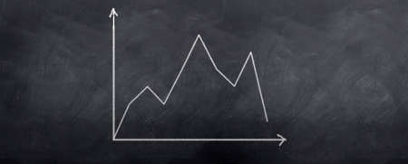 A graph showing a stock in decline over time. Written in chalk on a blackboard. Stock Photo - 6374317