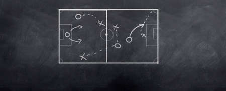 tactics: A socceer strategy board as the half time whistle blows. Written in chalk on a blackboard.