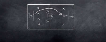A socceer strategy board as the half time whistle blows. Written in chalk on a blackboard. photo