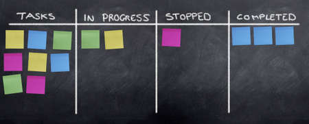 organizing: Planning and Organizing with Post It Notes on the blackboard Stock Photo