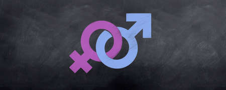 Male and Female symbols interlock in color on the blackboard