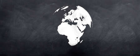 A 3d version of the globe sketched on a blackboard