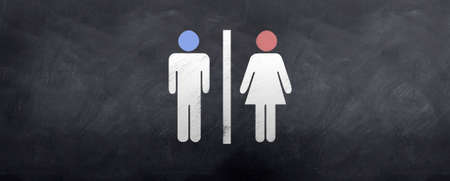 A blue head and a pink head meet at the bathroom :)