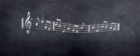 dessin panneau: Esquisse des notes de musique de la feuille de musique sur un tableau noir