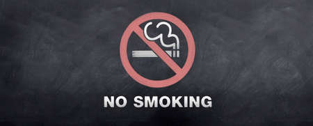 A no smoking sign symbol sketched on a blackboard photo