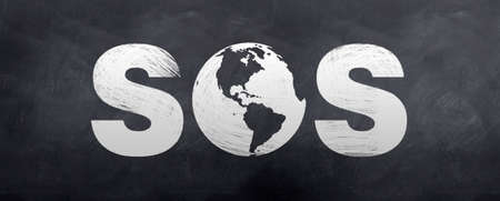 A sketch of an SOS sign using the globe photo