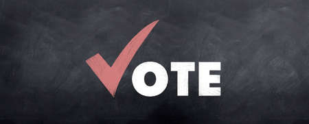 A correct sign for voting sketched on a blackboard